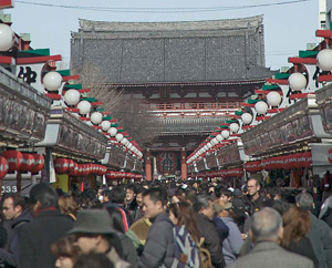 "Nakamise-dori shopping street at the Sensoji Temple - ""Nakamise1411"". Licensed under Public Domain via Commons - https://commons.wikimedia.org/wiki/File:Nakamise1411.jpg#/media/File:Nakamise1411.jpg"
